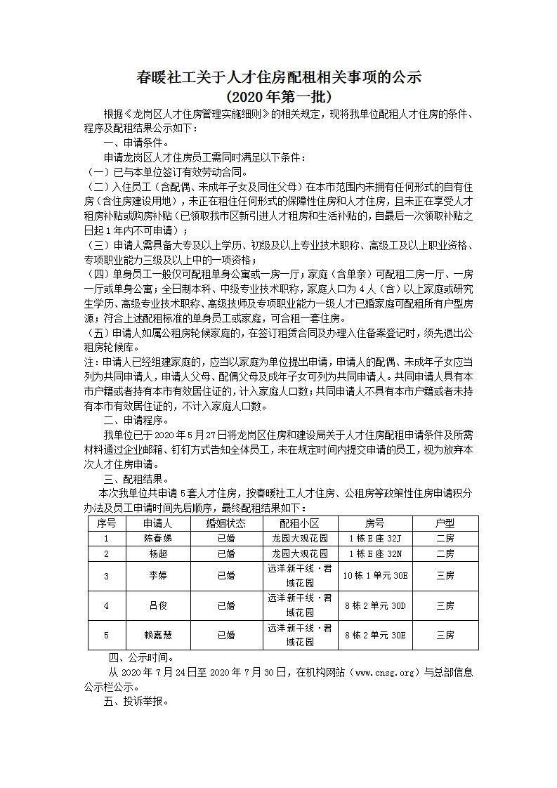 春暖社工关于人才住房配租相关事项的公示(2020年第一批)
